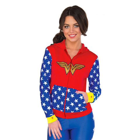 Wonder Woman adult sweater hoodie sweatshirt with glittery logo, red and blue and white stars. Wonder Woman costume hoodie from Rubie's Costumes.