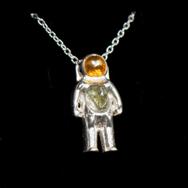 Sterling silver moldavite astronaut necklace for space lover