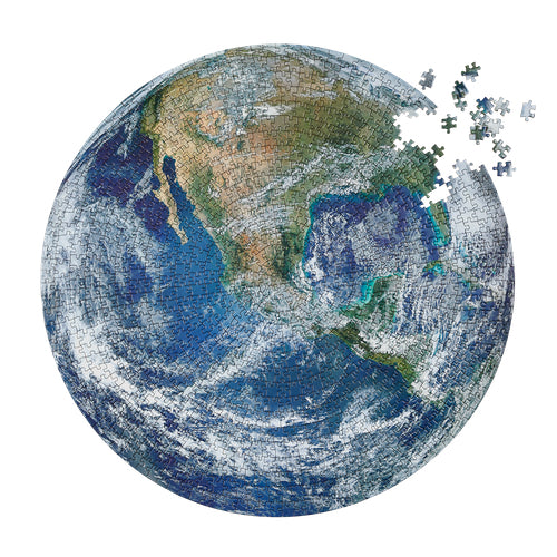 Earth jigsaw puzzle by Four Point Puzzles. A round puzzle of the earth from space..