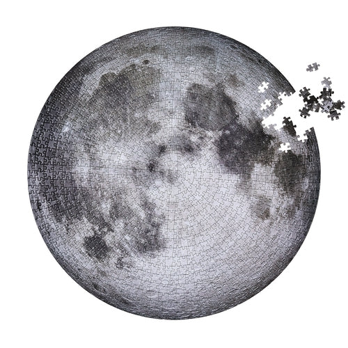 Moon jigsaw puzzle by Four Point Puzzles. A round puzzle of the moon.