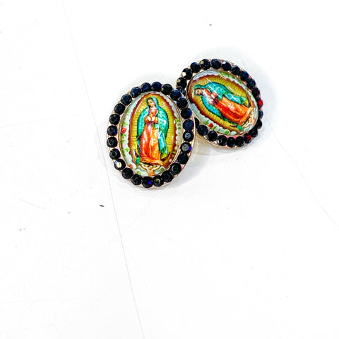 Virgen de Guadalupe Earrings - Black/Green