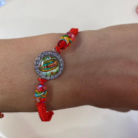 Red Virgen Silver Braided Bracelet