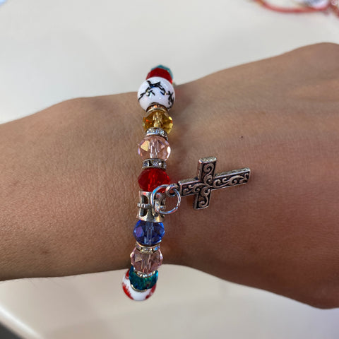 Multi Color Beaded Charm Cross  Bracelet