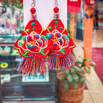 Fiesta Earrings - Floral Red