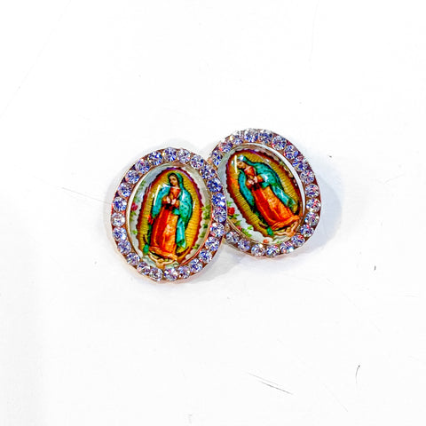 Virgen de Guadalupe Earrings - Green