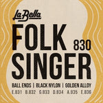 La Bella 830 Folk Singer Ball-End Classical Guitar Strings, Full Set