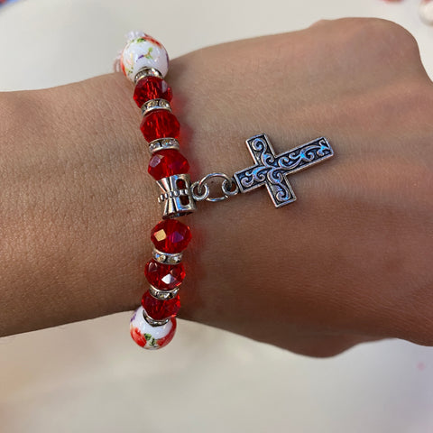 Red Beaded Charm Cross  Bracelet