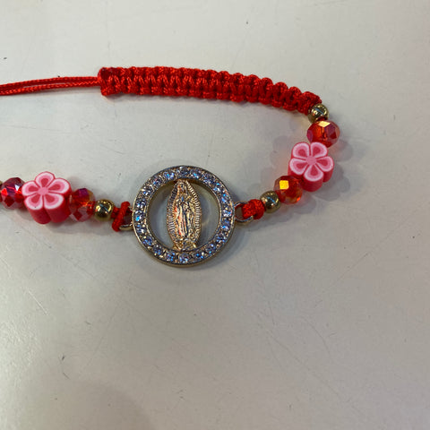 Red Virgen Gold Braided Bracelet