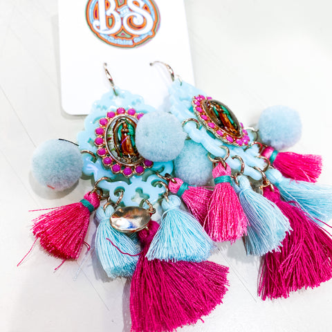 Small Virgen De Guadalupe Earrings Pink/Blue
