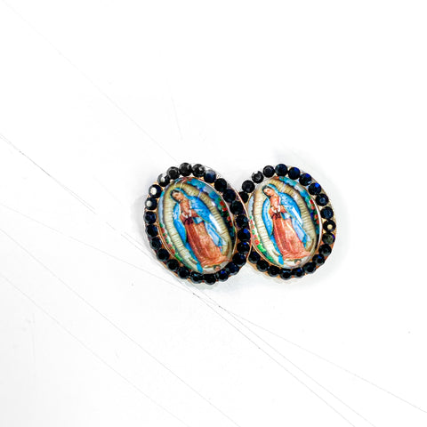 Virgen de Guadalupe Earrings - Black/Blue