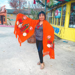 Virgen de Guadalupe Shawl- Orange