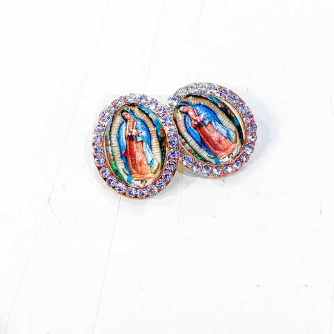 Virgen de Guadalupe Earrings - Blue