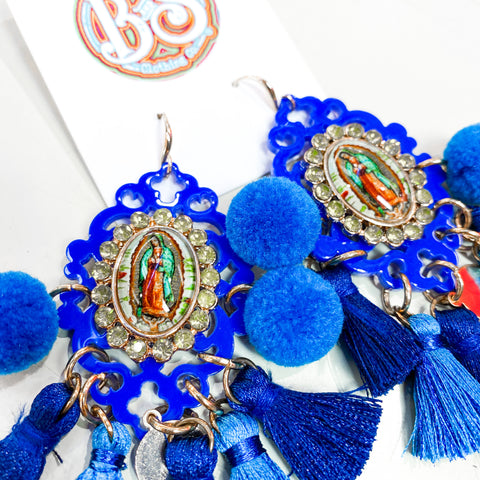 Small Virgen De Guadalupe Earrings - Blue