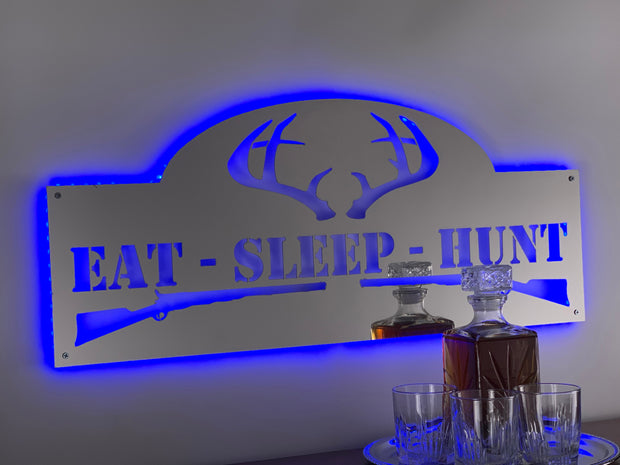 Stainless Steel Eat Sleep Hunt | LED Lights Optional