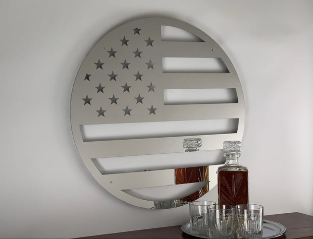 Stainless Steel American Flag Circle | LED Lights Optional