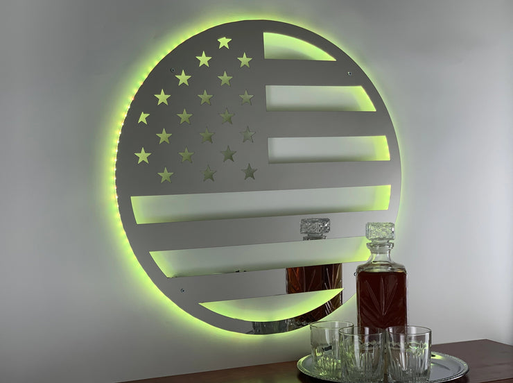 Lighted LED Stainless Steel American Flag Circle
