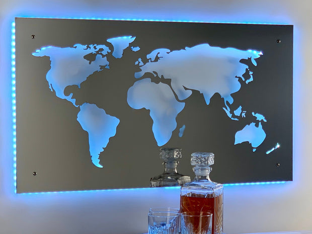 Stainless Steel World Map Sign | LED Lights Optional