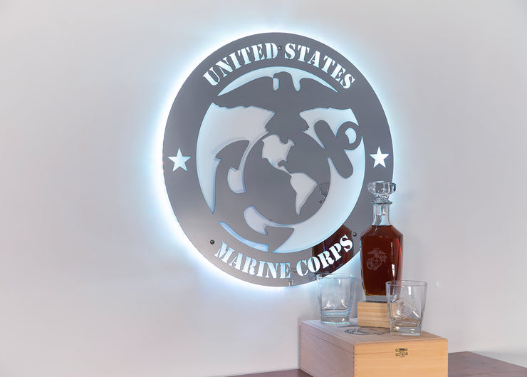Stainless Steel Marine Corps Logo | LED Lights Optional