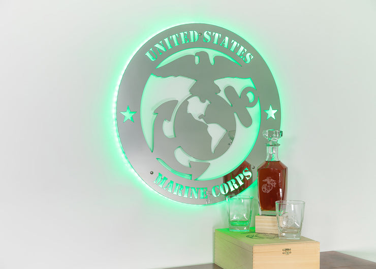 Stainless Steel Marine Corps Logo w/ LED Lights