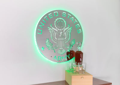 Lighted LED Stainless Steel Army Logo