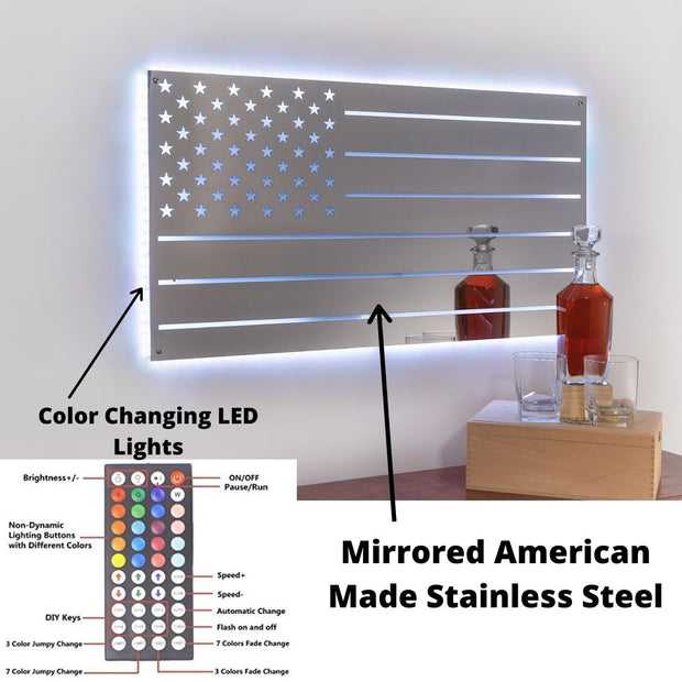 Lighted LED Stainless Steel American Flag