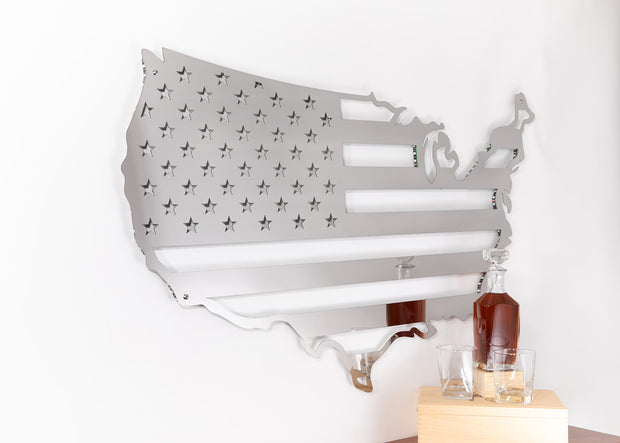Stainless Steel USA Flag Map | LED Lights Optional