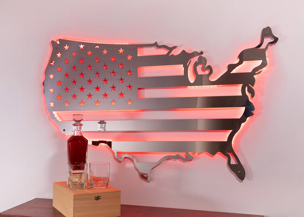Stainless USA Flag Map | Man Cave Decor | Metal Flag Wall Art