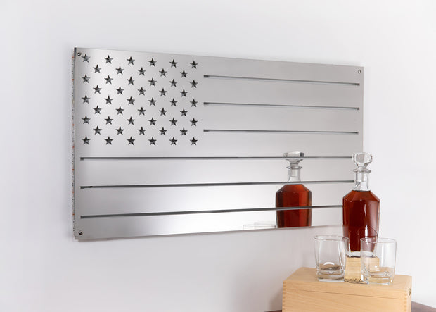 Stainless USA Flag | Man Cave Decor | Metal American Flag Wall Art | LED Sign