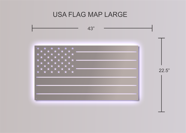 Stainless Steel Puerto Rico Flag Map | LED Lights Optional