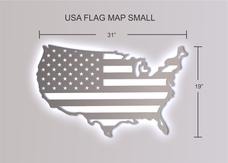 Stainless Steel USA Flag Map w/ LED Lights