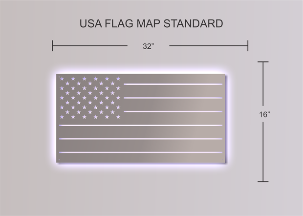 Stainless Steel American Flag w/ LED Lights