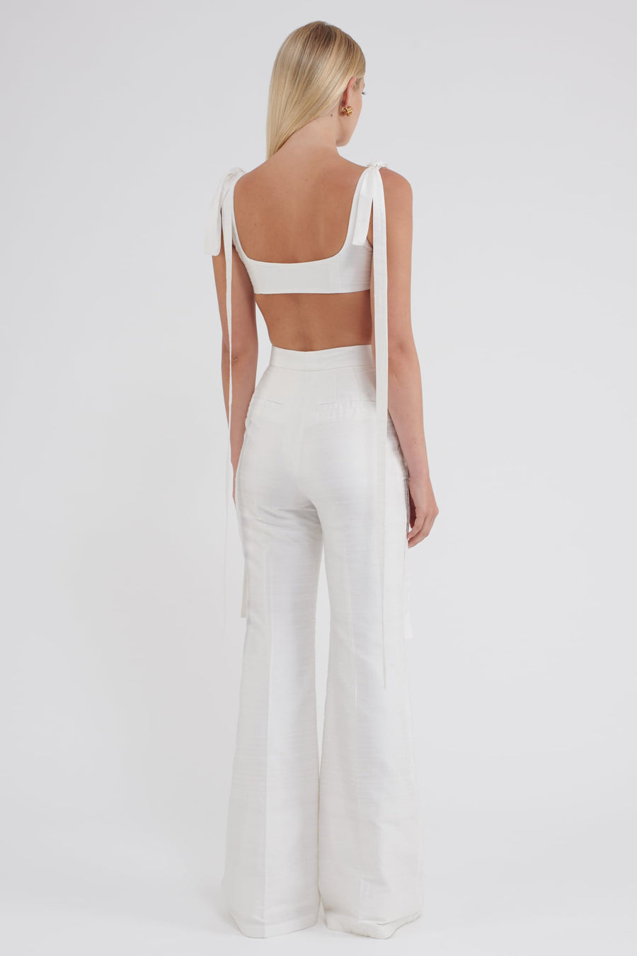 THE GRACE PANT in cream dupion silk