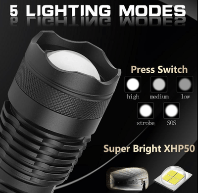 5 Mode USB Zoom LED Torch
