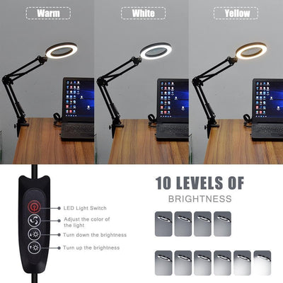 Flexible Desk LED Illuminated Magnifying Glass Lamp