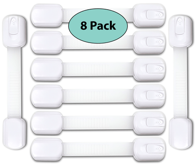 Adjustable Child Safety Locks | Child Proof Locks For Drawers, 8 Pack