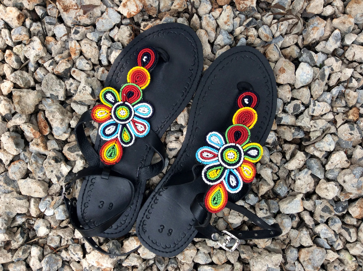 Hand Beaded Leather Sandals Sunburst Flower Design
