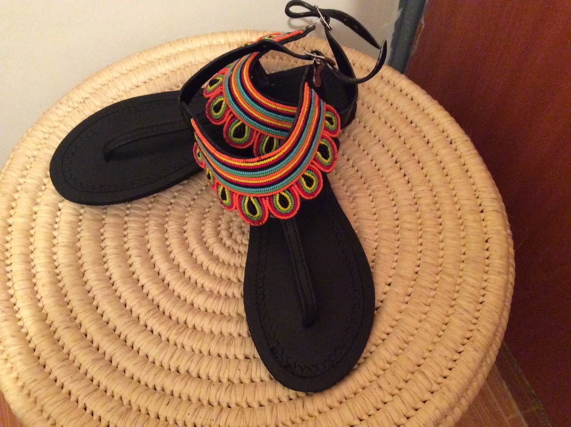 Hand Beaded Leather Sandals Maasai Design