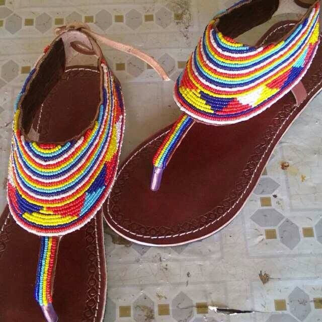 Hand Beaded Leather Sandals Maasai Too Design