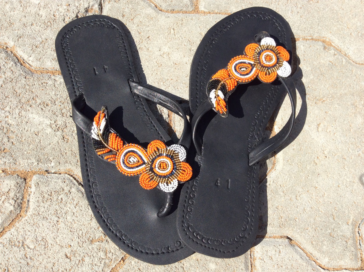 Hand Beaded Leather Sandals Beach Flower Design