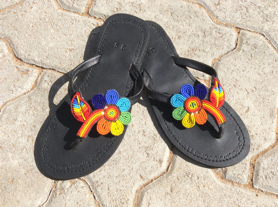 Hand Beaded Leather Sandals Rainbow Flower Design