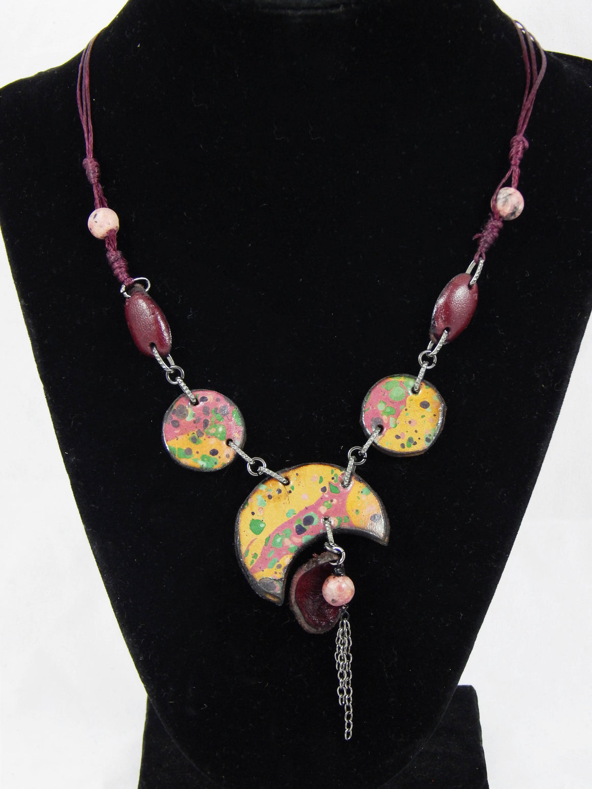 Turkish Ebru Leather Necklaces