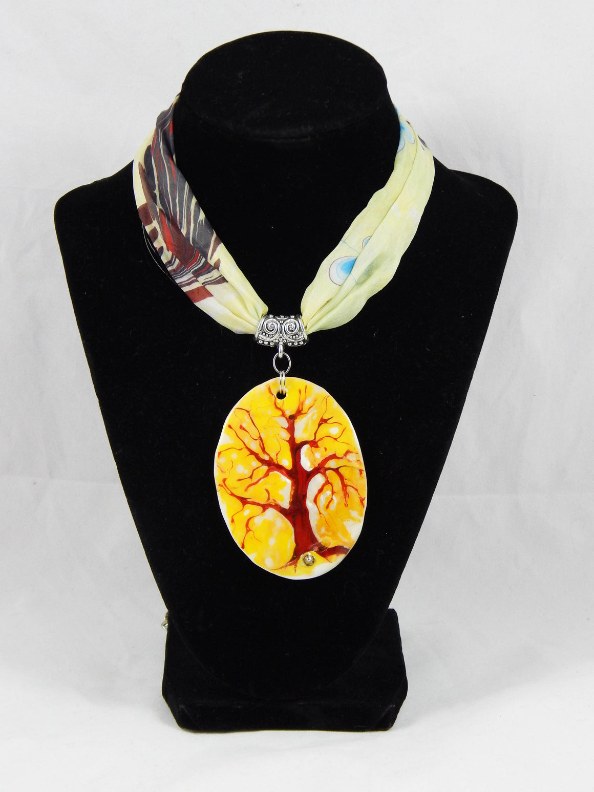 Turkish Ebru Golden Tree Necklace