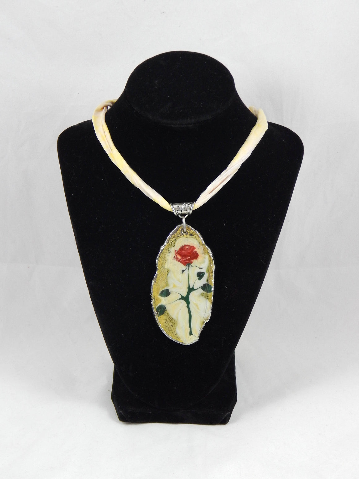 Ebru Silk Scarf Necklace Rose