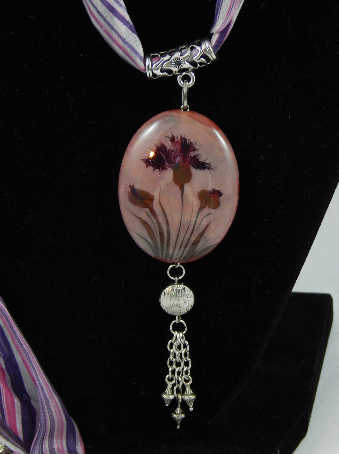 Ebru Silk Scarf Necklace Purple Carnation