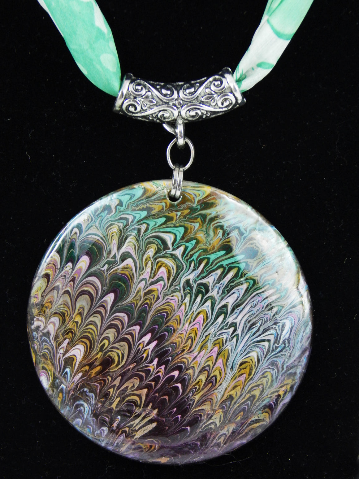 Turkish Ebru Marble Silk Necklace