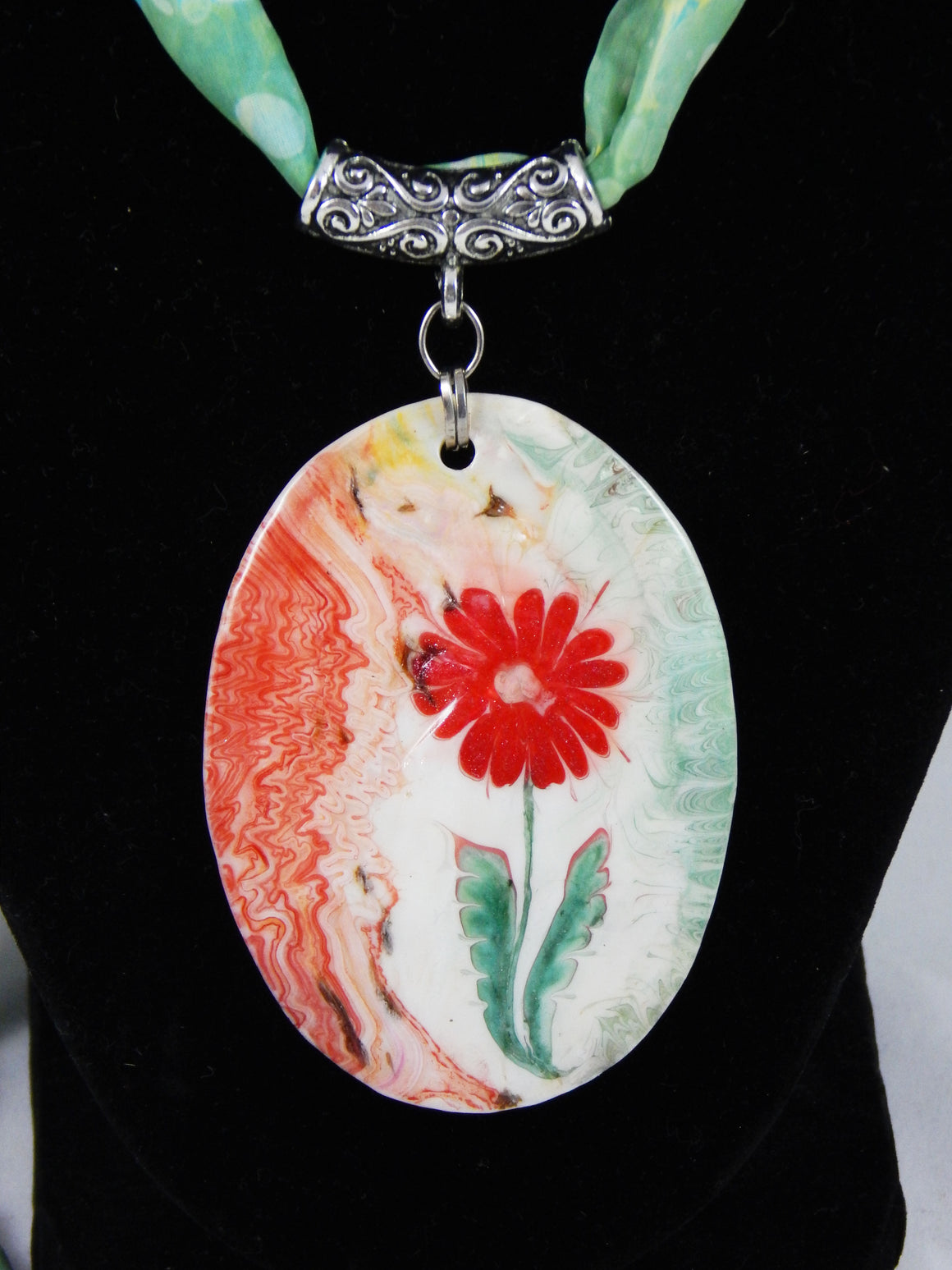 Turkish Ebru Silk Necklace Red Daisy