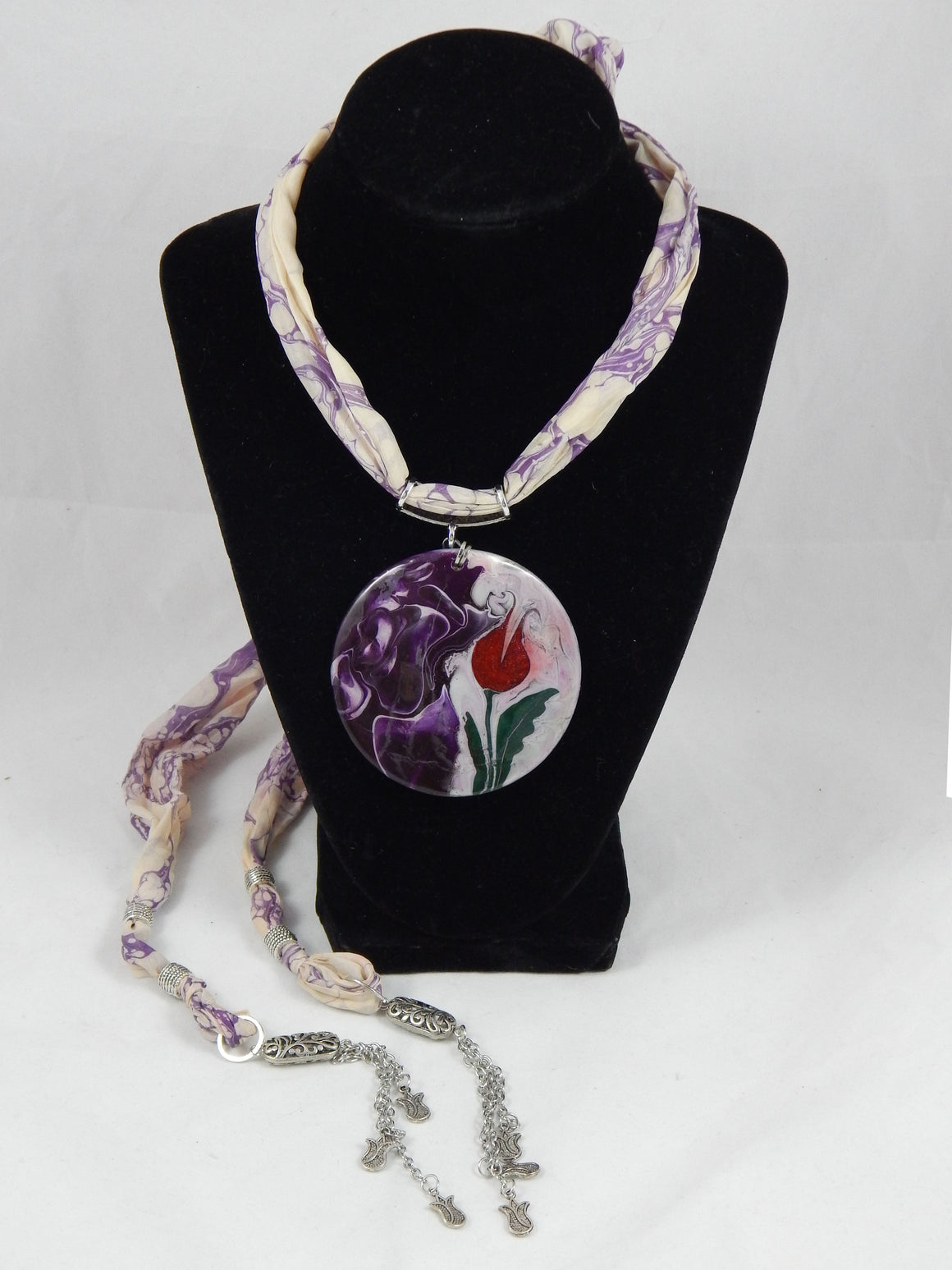 Turkish Ebru Silk Necklace Red Tulip