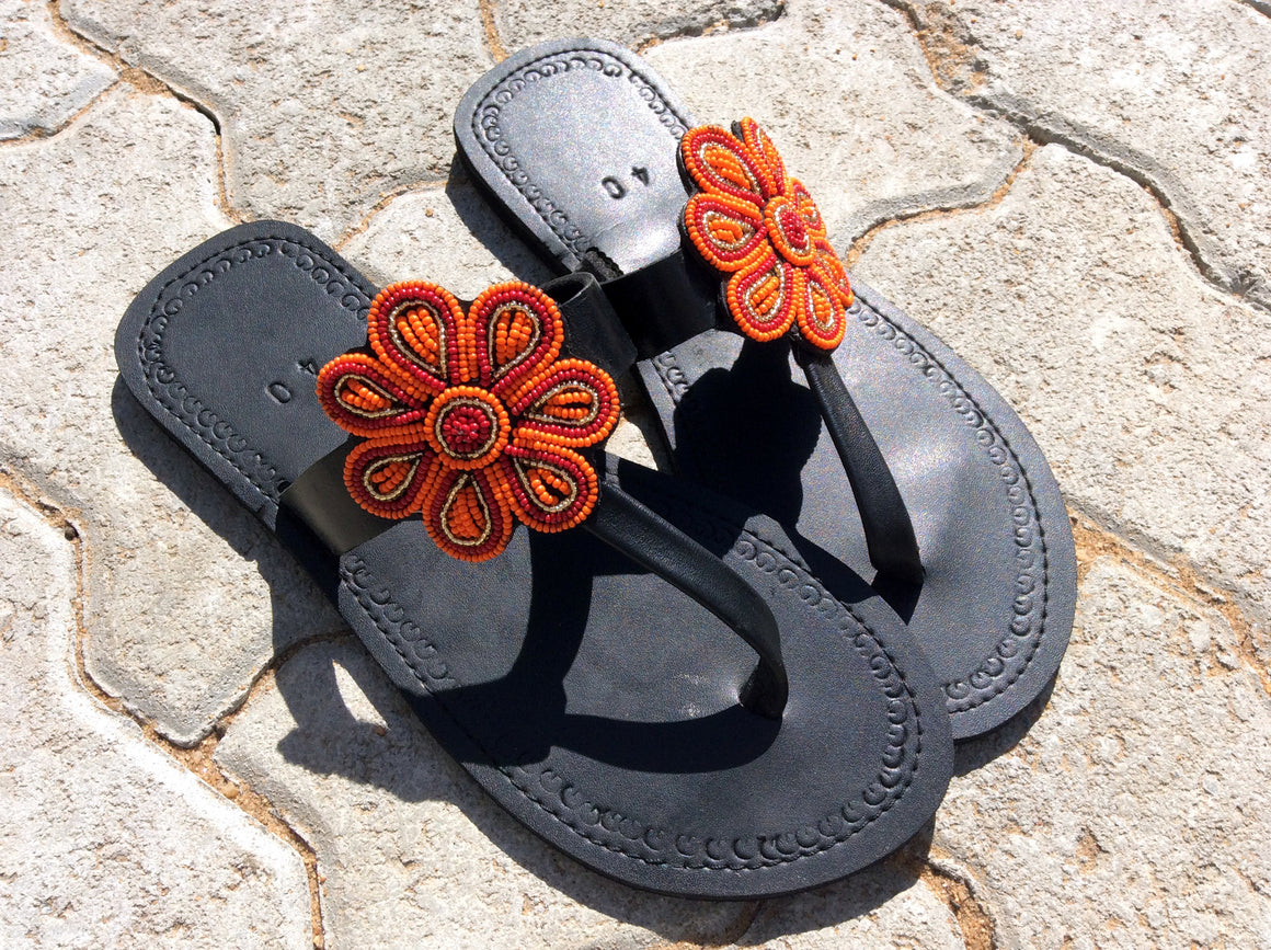 Hand Beaded Leather Sandals Posey Design