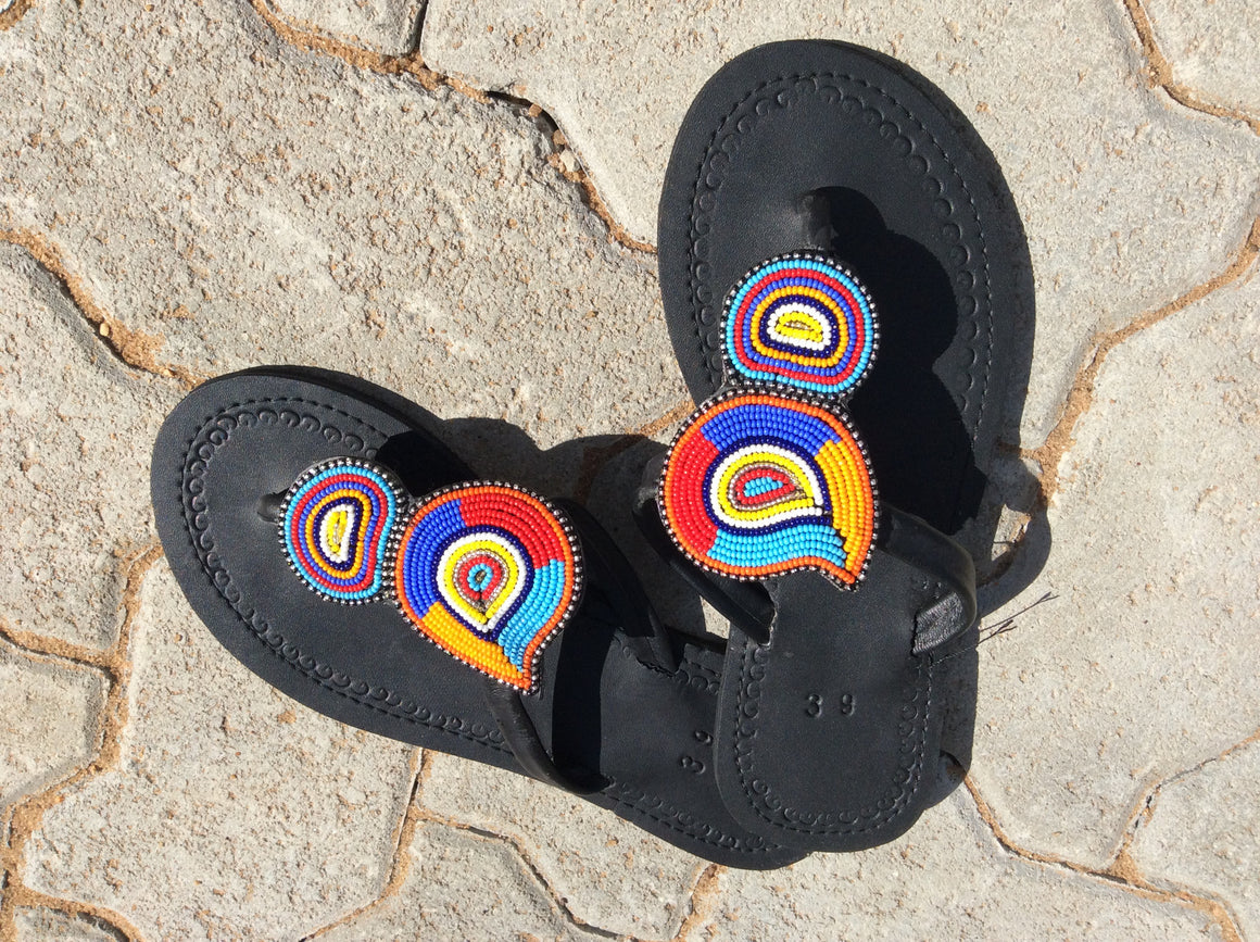 Hand Beaded Leather Sandals Circles Design