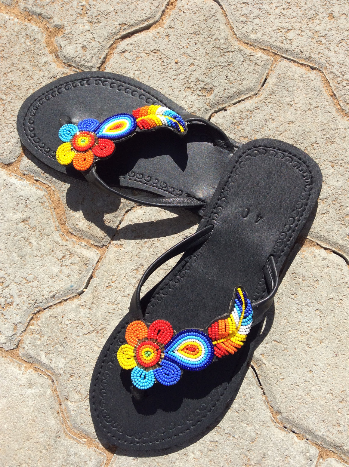 Hand Beaded Leather Sandals Flower and Feather Design